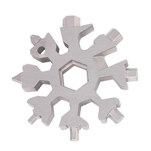 18 in 1 Schneeflocken Multitool, Edelstahl Multifunktionswerkzeug, Sechskantschlüssel, Schraubendreher, Inbusschlüssel, Flaschenöffner, bestes EDC Werkzeug, Geschenk für Weihnachten (Silber)