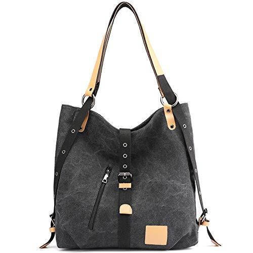 Damen Handtasche, Vintage Canvas Schultertasche Rucksack Freizeittasche Shopper Hobo Tasche Rucksackhandtasche Vielseitige Tasche für Alltag Büro Schule Ausflug Einkauf (Schwarz)