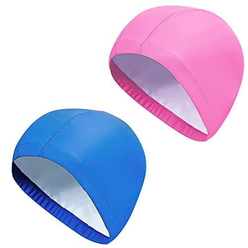 2 pezzi Cuffie Nuoto Professionali in Poliestere,Cuffia da Bagno Leggero Confortevole,Cuffia per Nuoto in Piscina Unisex Adulto(Blu+rosa)
