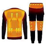 Yokbeer Camisetas O Pantalones Térmicos De Manga Larga con Calefacción Eléctrica USB, Ropa Interior Térmica con Calefacción, Calentamiento Rápido, Invierno, para Esquiar Y Acampar En Invierno