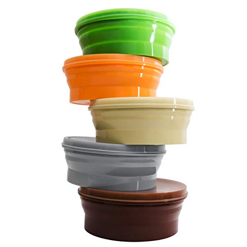 IYYI ME.FAM Silicone Collapsible Bowl with Lid 800ML Folding Travel Bowl for Camping,Hiking, Kitchen, Office, School…