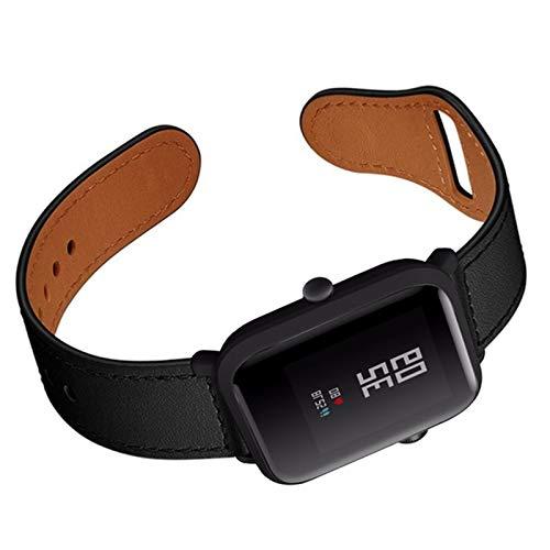 Fhony Correa de Cuero Compatible with Apple Watch 38mm 40mm 42mm 44mm Diseño de Cuero Genuino Correa de Repuesto para Mujeres & Hombres for Iwatch Series Se/6/5/4/3/2/1,Negro,42/44mm