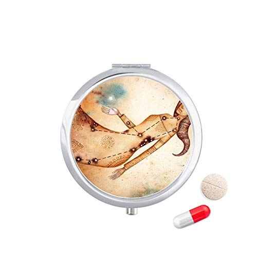 DIYthinker september augustus Maagd sterrenbeeld Zodiac Travel Pocket Pill Case Medicine Drug Opbergdoos Dispenser Spiegel Gift