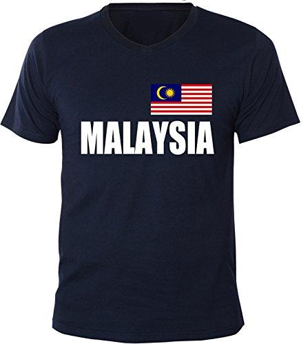 Mister Merchandise Herren V-Ausschnitt T-Shirt Malaysia Fahne Flag, V-Neck, Größe: XXL, Farbe: Navy