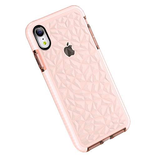 Funda iPhone XR, Carcasa Silicona Transparente Protector TPU Airbag Anti-Choque Ultra-Delgado Anti-arañazos Case 3D Modelo Geométrico de Diamante Funda para Teléfono (iPhone XR, Rosa)