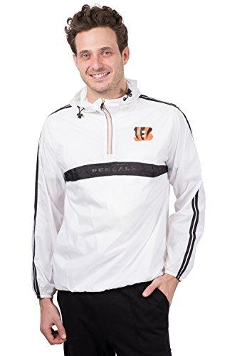 Ultra Game NFL Cincinnati Bengals Mens Quarter Zip Pullover Hoodie Packable Windbreaker Jacket, White, Small