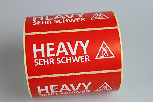 Kamaca Warn - Aufkleber ' SEHR SCHWER/Heavy ' Etiketten 600 Stück, Super - Sparpreis