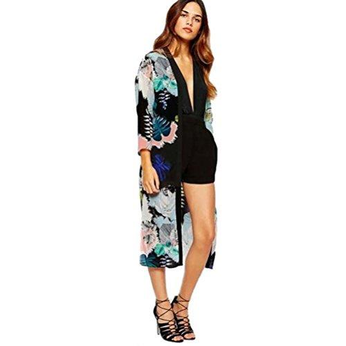 Vovotrade Las mujeres de Boho Impreso gasa Mantón largo kimono Cardigan (XL, Negro)
