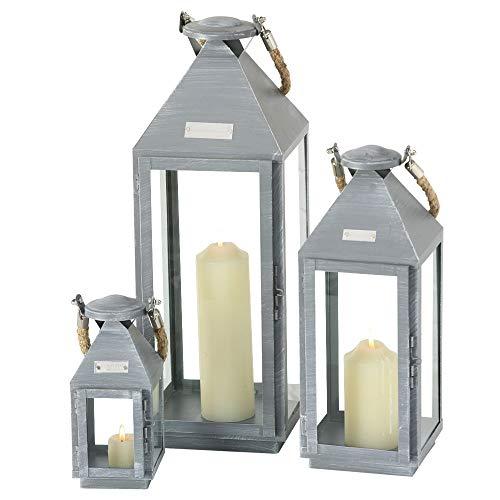 Boltze 3er Set Deko Innen Außen Stand Laternen Dielen Balkon Eisen grau Seil Glas Tür 8664900