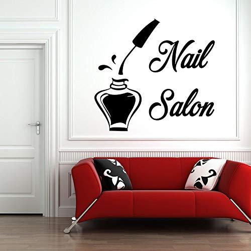 wZUN Salón de uñas calcomanía de Pared salón de Belleza barbero Pegatina de Pared Vinilo Adhesivo para Pared decoración de habitación extraíble 42X44cm