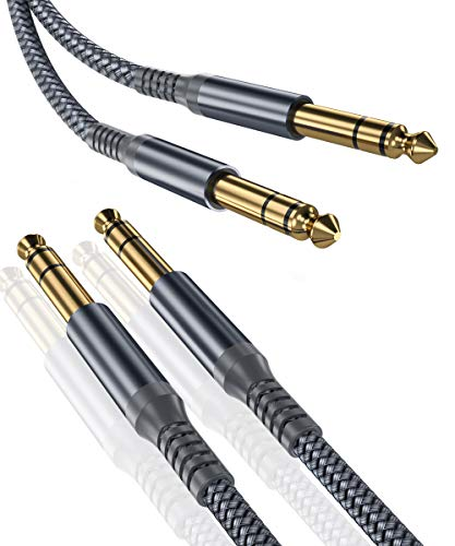 Elebase 1/4 Inch TRS Instrument Cable (10ft 2-Pack),Straight 6.35mm Male Jack Stereo Audio Interconnect Cord,6.35 Balanced Line Compatible for Electric Guitar,Bass,Keyboard,Mixer,Amplifier,Amp,Speaker