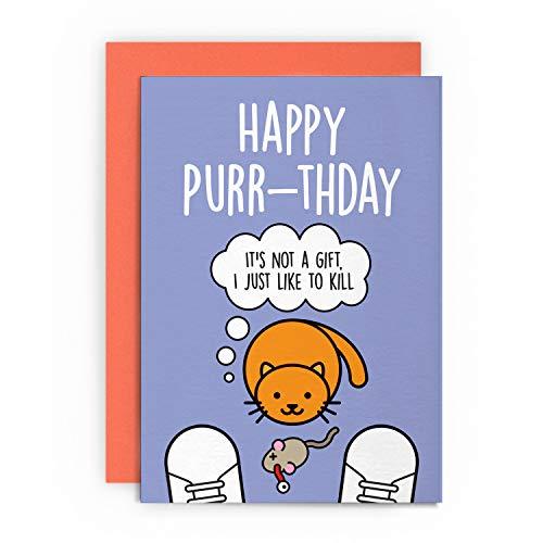 Tarjeta de cumpleaños divertida con diseño de gato y animal para marido, esposa, novio, novia, amiga, mamá, papá, gatito, saludos para él, ella, broma, lol juego de palabras felices ronroneos