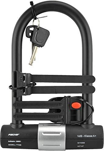 Fischer Bügelschloss Safe VDs Geprüft, Länge 19cm, Durchmesser 16mm, Mit Halter, schwarz, 19
