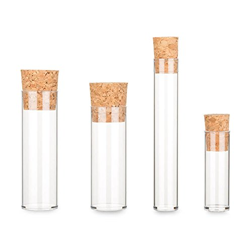 Tuuters 100x Kunststoff Reagenzgläser mit Korken - Flachbodenglas ✓ Verschluss wählbar ✓ Kunststoffröhrchen ☆ (75 x Ø23, Presskorken dunkelbraun)