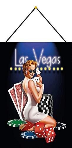 Generisch Cartel de Chapa 20 x 30 cm arqueado con cordón Las Vegas Poker Sexy Pinup Decoración Regalo Cartel Pin Up Tin Sign