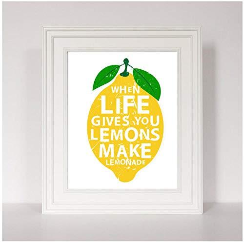 kldfig Moderne keuken decor canvas schilderij als het leven geeft citroenen maken limonade citaten kunst poster wandschilderij voor woonkamer 40 * 60 cm niet ingelijst