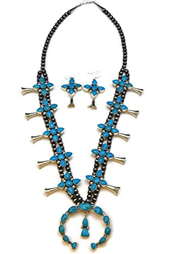 Chaco Canyon Couture .925 Sterling Silver Native American Handcrafted Jewelry Turquoise Squash Blossom (White)