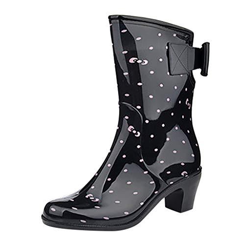 Damen Gummistiefel Wellenpunkt Drucken Bowknot Halbschaft Regenstiefel mit Blockabsatz Trendige Outdoor Stiefeletten Rutschfeste Wasserdicht Regenschuhe Stiefel Rain Boots (39 EU, Rosa)