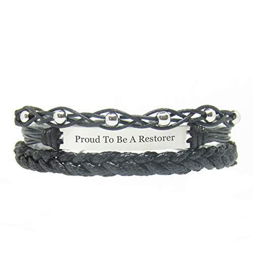 Miiras Job Engraved Handmade Bracelet - Proud to Be A Restorer - Black 1 - Made of Braided Rope and Stainless Steel - Gift for Restorer