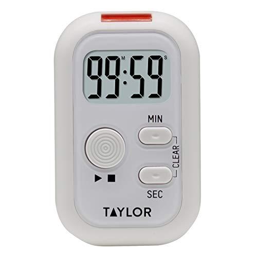 Taylor Precision Products Multi-Alert (Sound, Light, Vibration) Digital Timer, Standard, White