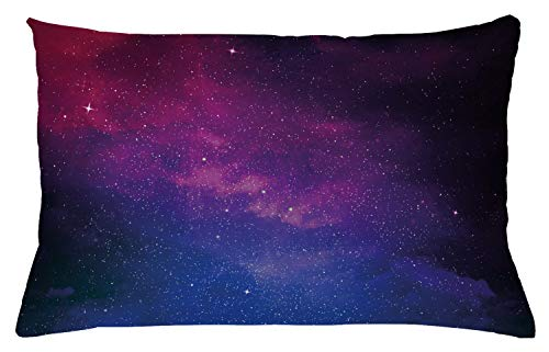 Ambesonne Galaxy Throw Pillow Cushion Cover, Pink and Blue Nebula in Starry Night Sky Space Science World Astronomy Print, Decorative Accent Pillow Case, 26 W X 16 L Inches, Black Pink Blue