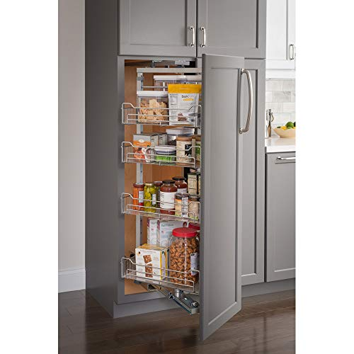 """15"""" Chrome wire pantry pullout with swingout feature with heavy-duty soft-close slides."""