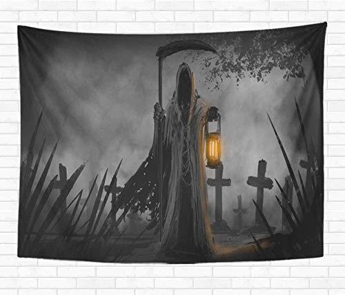 QIAO Tapicer¨ªa Decorativa para el hogar Colgante de Pared Muerto embrujado Parca Cementerio Esqueleto de Halloween Oto?o Negro Tapices de Manta de Pared para Dormitorio Dormitorio Sala de Estar