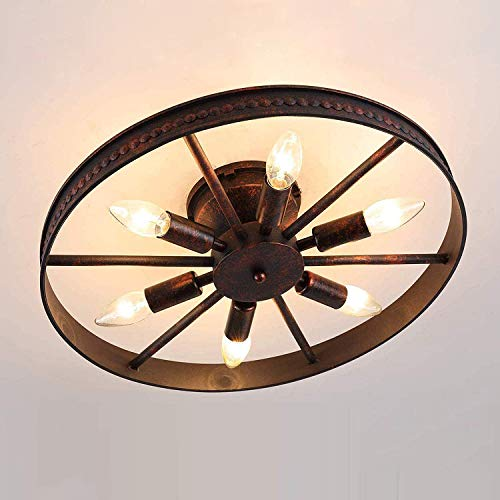 Rad Deckenleuchte Retro, Vintage Ring Deckenlampe - 6 Flammig - Rost - Runde Industry Lampe - Decorative Landhaus Leuchte - Eisen - 6 x E14 - Max. 60W - für Schlafzimmer Bar Cafe, Ø 46cm
