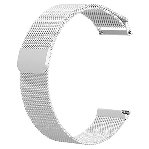 HPTQJ Correa de reloj de liberación rápida, correa de metal de acero inoxidable Milanés Muella de pulsera, banda de reemplazo de bloqueo magnético Smart Watch pulseras para hombres mujeres Regalo cáli