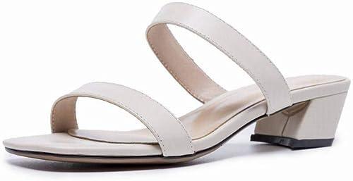 TFTORY Sandales Femme été été été Noir Mot Talon Haut avec des Chaussures à Bout Ouvert épais avec des Sandales Chaussures Femme Romaine, blanc, 34 184
