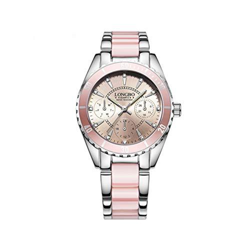 NICERIO 1 stücke Frauen Uhr Keramik nachtlicht quarzuhr wasserdichte Uhr für Frauen/Dame/mädchen (Silber und rosa)