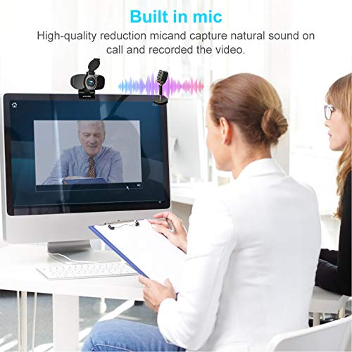 Aigoss Webcam Full HD 1080P mit Mikrofon und PC-Kamera Privacy Cover USB 2.0 Plug & Play für Laptop, Computer, PC, mit Stativ, für YouTube, Skype Online Study, Videoanrufe, Live-Streaming-Konferenzen