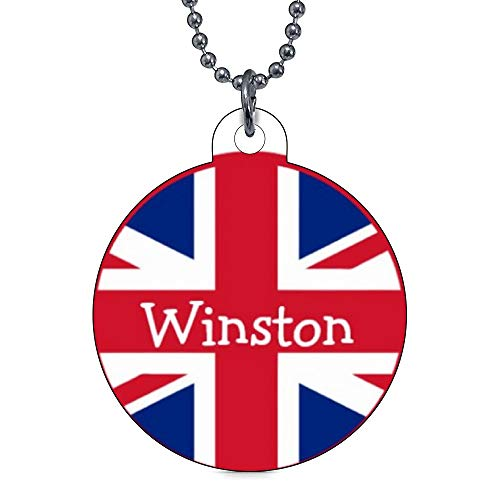 onepicebest Pet ID Tags Small Personalized Pet ID Tags Custom Dog Tags and Cat Tags, Union Jack British Flag UK Dog Name Tags Gift for Pet Owner - Round Stainless Steel