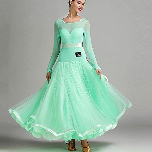 Perspektive Mesh Spleißen Damen Modernes Tanzkleid Performance Milchseide Tüll Großer Schaukel Standard Tanz Kleider mit Bogengürtel, Green, L