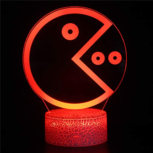 3D ilusión noche luz con remoto comer frijoles 3D ilusión lámpara 16 colores cambiantes deporte ventilador decoración habitación niños habitación idea