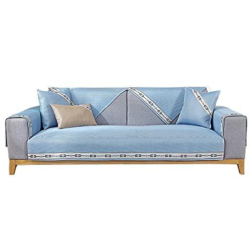 YUTJK Sofá Transpirable,Fresco y Lavable,Funda se Puede Empalmar de Sofá Funda para sofá Antideslizante Protector Cubierta de Muebles,Azul_110×210cm