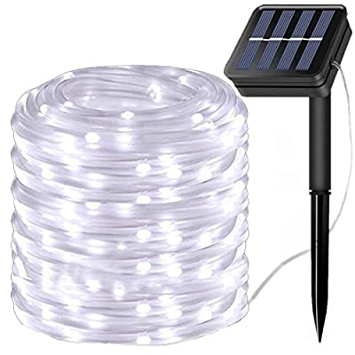 LiyuanQ Solar String Lights Outdoor Rope Light, 100 LED Waterproof Tube Lights Copper Wire Automatic Switch Fairy Indoor Decoration Light Christmas Tree Ornaments Gifts Party Thanksgiving (Cool White)