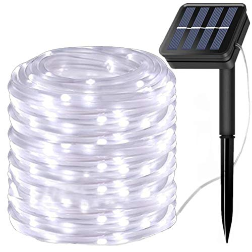 LiyuanQ Solar String Lights Outdoor Rope Light, 300 LED Waterproof Tube Lights Copper Wire Automatic Switch Fairy Indoor Decoration Light Christmas Tree Ornaments Gifts Party Thanksgiving (Cool White)