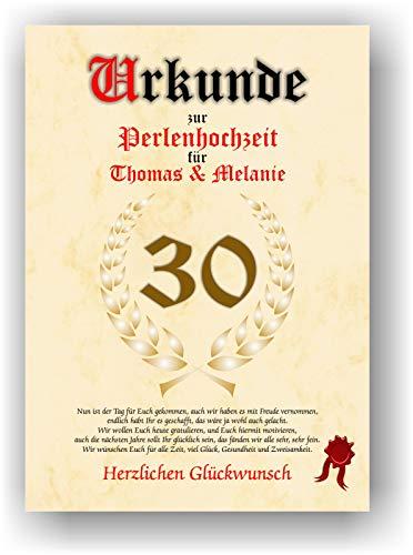 Urkunde zum 30. Hochzeitstag - Perlenhochzeit - Geschenkurkunde Perlen Hochzeit personalisiertes Geschenk Karte zum Ehrentag XXL DIN A4