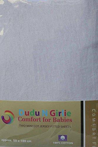 Dudu N Girlie - Juego de sábanas bajeras para Cuna (algodón, 100 x 50 cm, 2 Unidades), Color Blanco