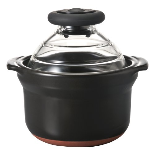HARIO ( ハリオ ) フタ が ガラス の ご飯釜 1合 萬古焼 炊飯 土鍋 GN-150B