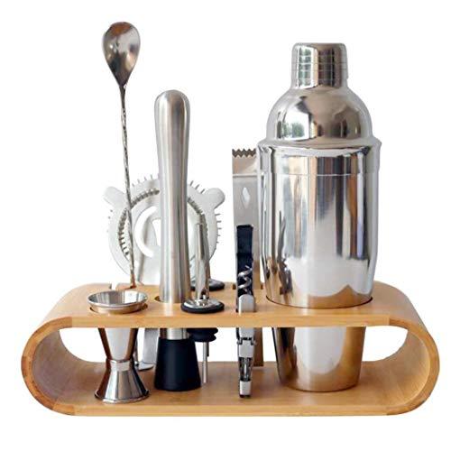 Haciendo cóctel Conjunto, cóctel de acero inoxidable Shaker Set con soporte de exhibición de madera, Barra de Herramientas Kit camarero, 10pcs / set, 750ml