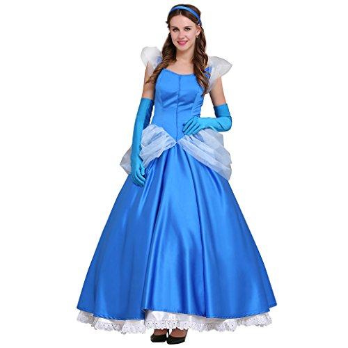 Fortunehouse Disfraz de princesa para adulto de Cenicienta Cosplay Outfut azul de cuento de hadas vestido de bola para Halloween