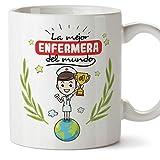 MUGFFINS Enfermera Tazas Originales de café y Desayuno para Regalar a Trabajadores Profesionales - La Mejor Enfermera del Mundo - Cerámica 350 ml