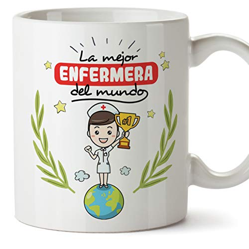 MUGFFINS Enfermera Tazas Originales de cafe y Desayuno para Regalar a Trabajadores Profesionales - La Mejor Enfermera del Mundo - Ceramica 350 ml