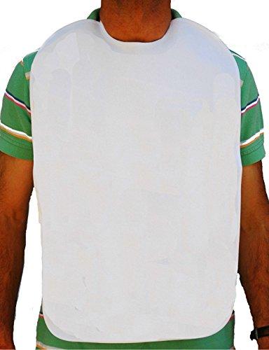 Baberos adulto, en rizo 100%algodón plastificado. Blanco. (50x70 pack de 3)