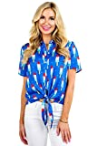 Tipsy Elves Women's Tie Front Shirt with Classic Red White and Blue Popsicles Allover Print Size XX-Large
