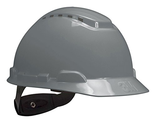 3M Hard Hat H-708V-UV, Gray, 4-Point Ratchet Suspension, Vented, with Uvicator