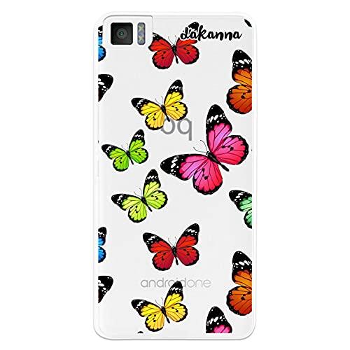 dakanna Funda para [ Bq Aquaris M4.5 - A4.5 ] de Silicona Flexible, Dibujo Diseño [ Estampado de Mariposas Multicolor ], Color [Fondo Transparente] Carcasa Case Cover de Gel TPU para Smartphone