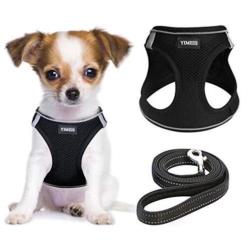 YIMEIS Dog Harness and Leash Set, No Pull Soft Mesh Pet Harness, Reflective Adjustable Puppy Vest for Small Dogs, Cats (XS, Black)